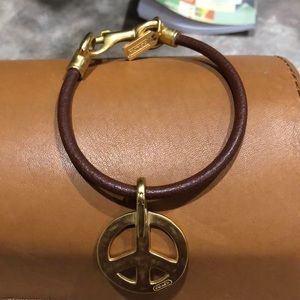 Coach Jewelry - Coach peace leather bracelet